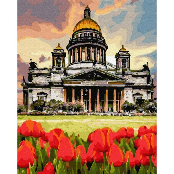 Картина по номерам Пейзажи - Тюльпани біля Берлінського собору