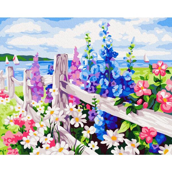 Картина по номерам Пейзажи - Мальви за парканом