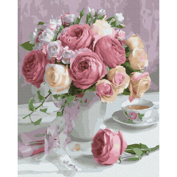 Картина по номерам Цветы - Нежный букет садовых роз