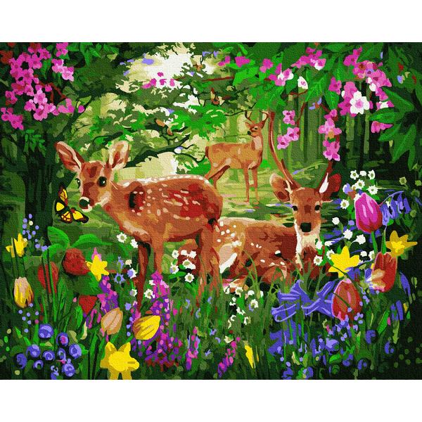 Картина по номерам Животные, птицы и рыбы - Олени в цветущем лесу