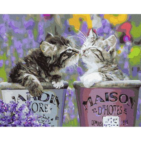 Картина по номерам Животные, птицы и рыбы - Котики в горщечках