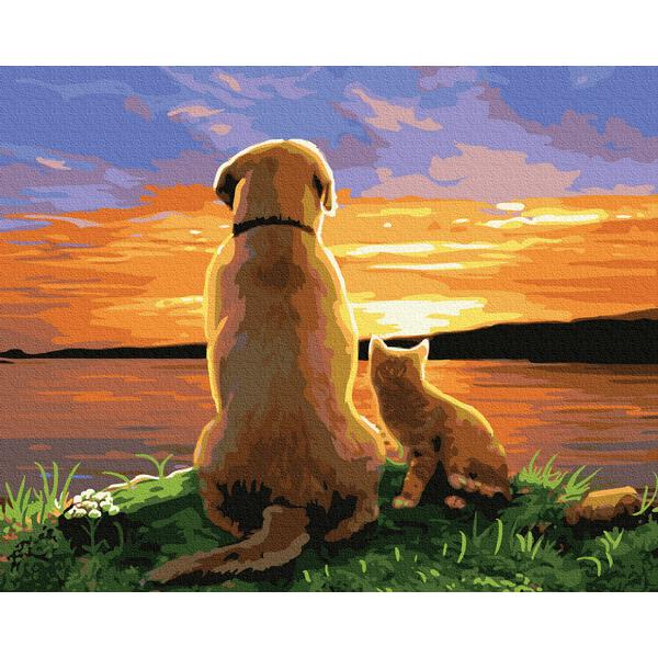 Картина по номерам Животные, птицы и рыбы - Друзі на заході сонця