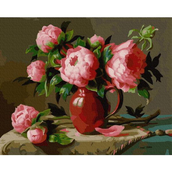 Картина по номерам Цветы - Рожеві садові піони