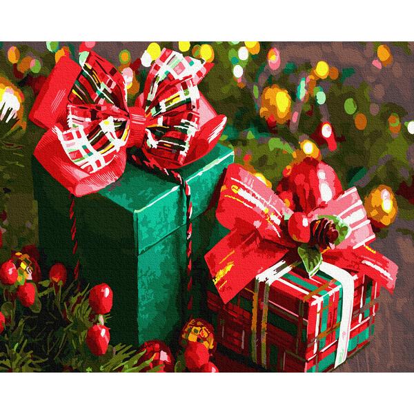 Картина по номерам Зима, Новый год, Рождество - Новорічні подарунки