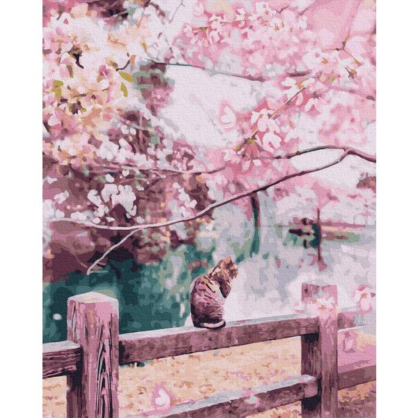 Картина по номерам Животные, птицы и рыбы - Котик в квітучих сакурах