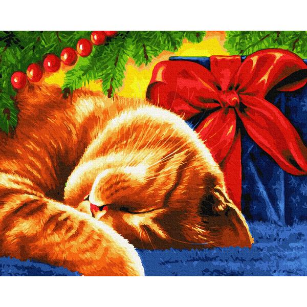Картина по номерам Зима, Новый год, Рождество - Сонний кіт