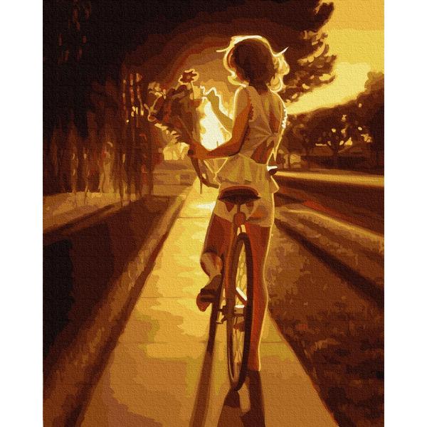 Картина по номерам Люди на картинах - Велопрогулянка на заході сонця