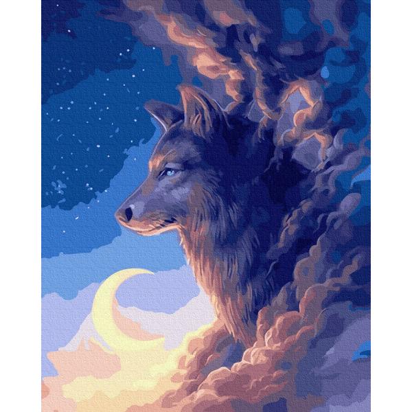 Картина по номерам Животные, птицы и рыбы - Волк в облаках