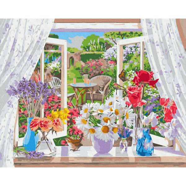 Картина по номерам Цветы - Квіти на підвіконні