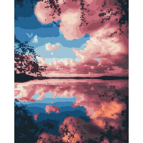 Картина по номерам Пейзажи - Рожеві хмари над озером