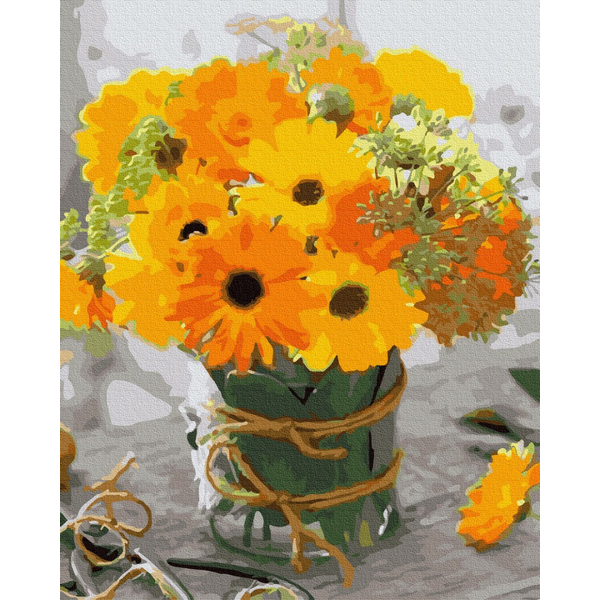 Картина по номерам Цветы - Маленький жовтий букет