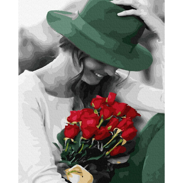 Картина по номерам Люди на картинах - Щаслива леді з квітами