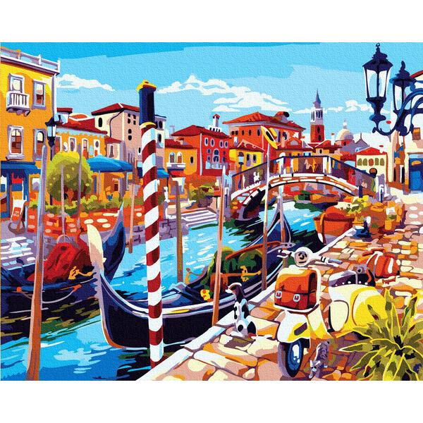 Картина по номерам Города - Яскравий канал з гондолами