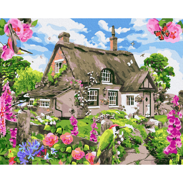 Картина по номерам Пейзажи - Хатинка з квітучим садом