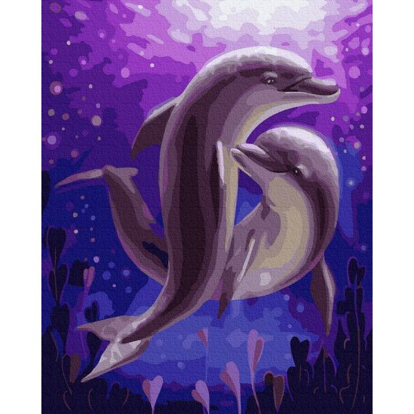 Картина по номерам Животные, птицы и рыбы - Танок дельфінів