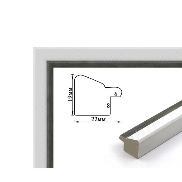 Багетные рамки - Багетная рамка (белая с серебром, 2 см) 40х50