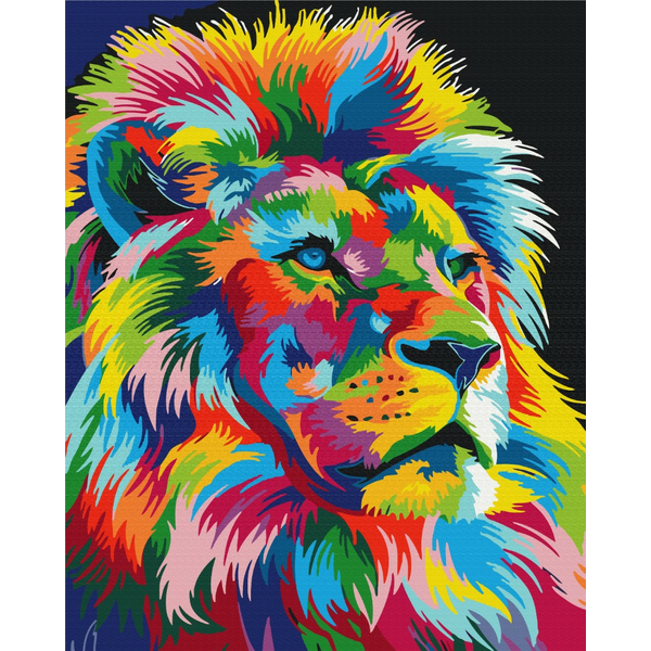 Картина по номерам Поп-арт - Радужный царь зверей