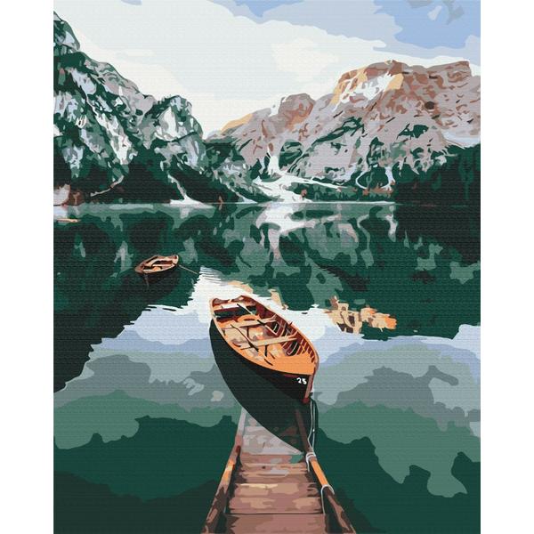 Картина по номерам Природа - Човен на дзеркальному озері