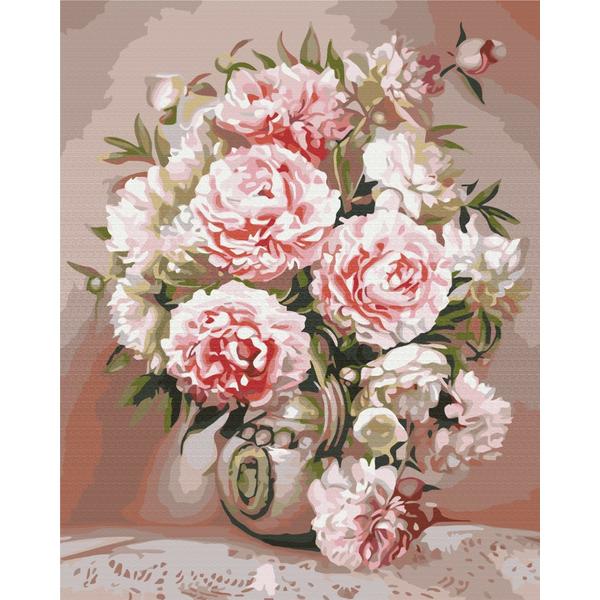 Картина по номерам Цветы - Ваза с пионами