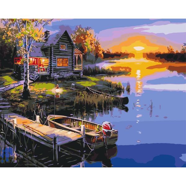Картина по номерам Пейзажи - Дом у озера
