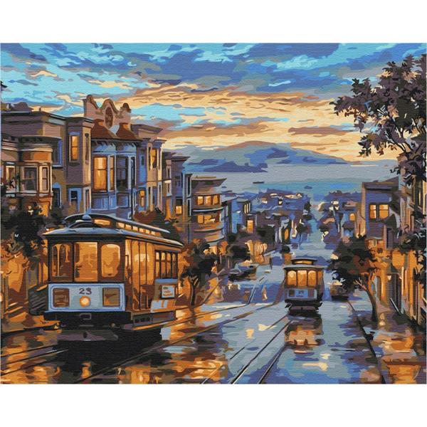 Картина по номерам Города - Город в красках дождя