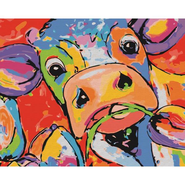 Картина по номерам Поп-арт - Яркая коровка