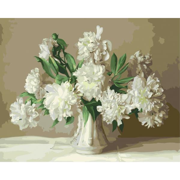 Картина по номерам Цветы - Білі піони у вазі