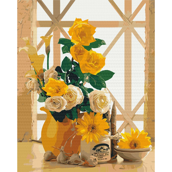 Картина по номерам Цветы - Желтый натюрморт