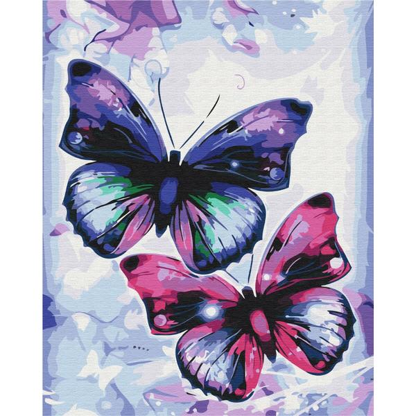 Картина по номерам Животные, птицы и рыбы - Блискучі метелики