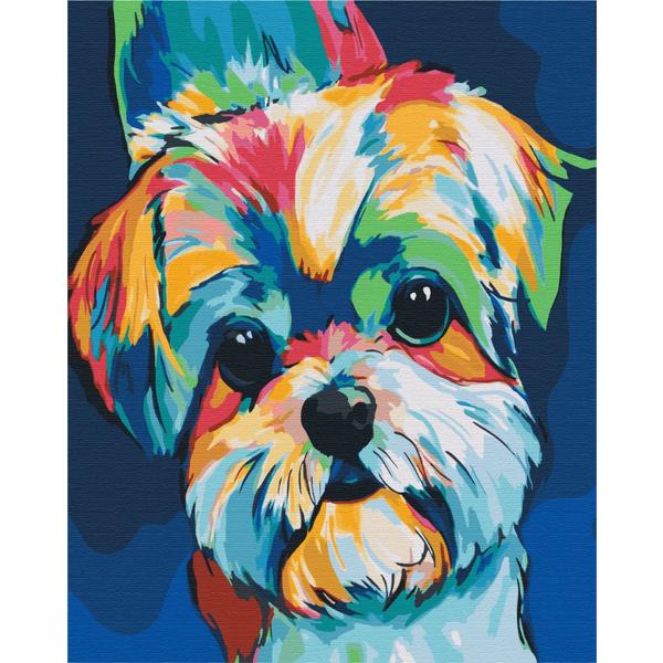 Картина по номерам Поп-арт - Яскрава собачка