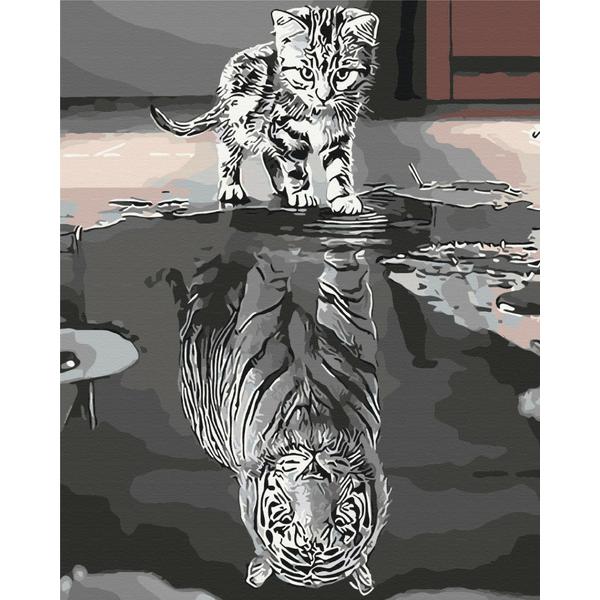 Картина по номерам Животные, птицы и рыбы - Отражение силы