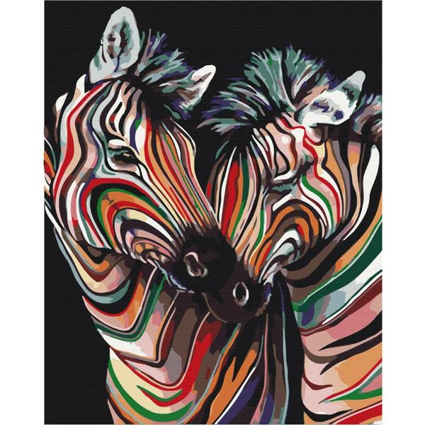 Картина по номерам Поп-арт - Пара райдужних зебр