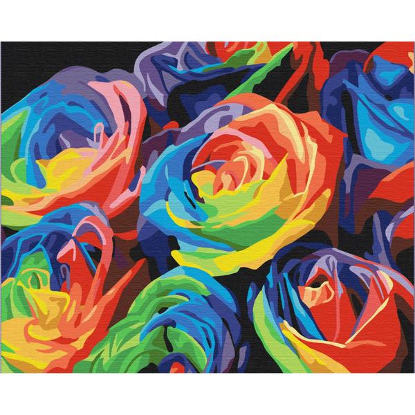 Картина по номерам Поп-арт - Райдужні троянди