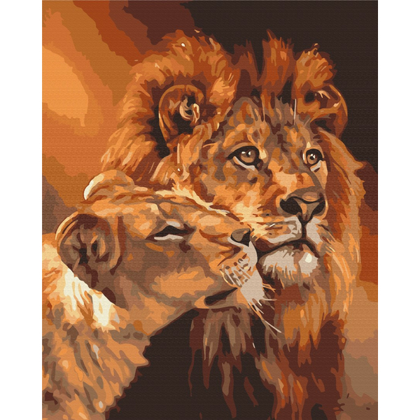 Картина по номерам Животные, птицы и рыбы - Закохані леви