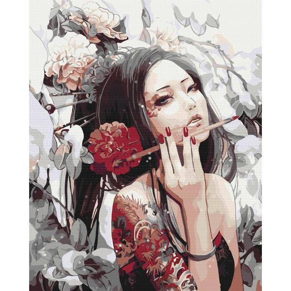 Картина по номерам Люди на картинах - Дівчина з татуюванням дракона