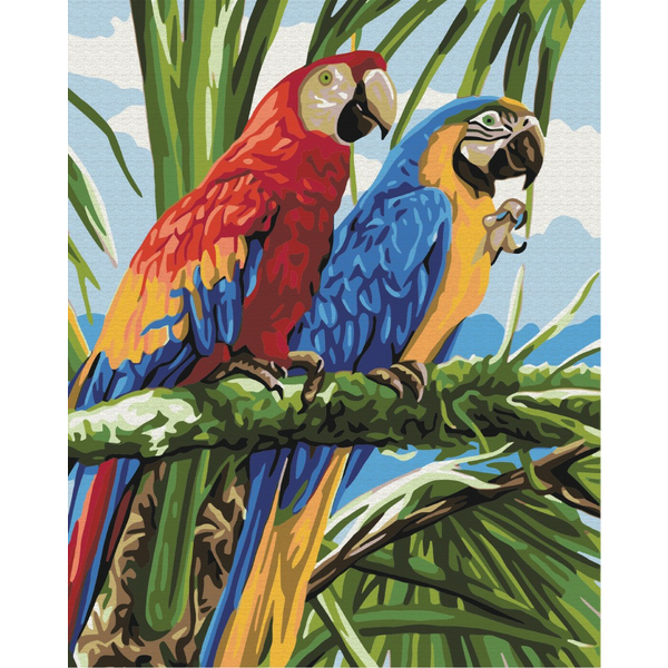 Картина по номерам Животные, птицы и рыбы - Яркие ара
