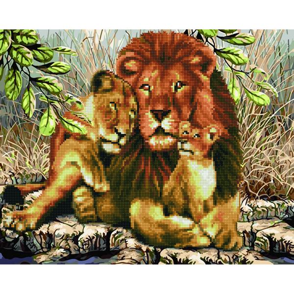 Алмазные картины-раскраски - Семья львов