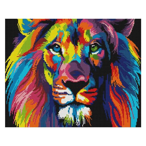 Алмазная мозаика 40х50 - Радужный лев