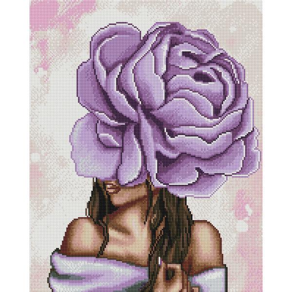 Алмазная мозаика 40х50 - Фіолетовий піон