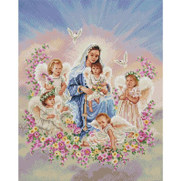 Алмазная мозаика 40х50 - Богородица с ангелами