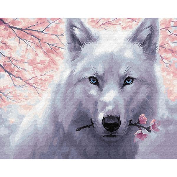Картина по номерам Животные, птицы и рыбы - Волк с цветком
