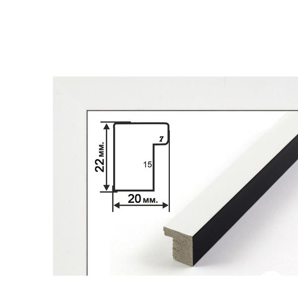 Багетные рамки - Багетна рамка (біло-чорна, 2 см) 40х50
