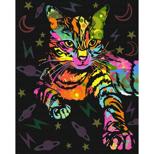 Картина по номерам Поп-арт - Неонова кішка
