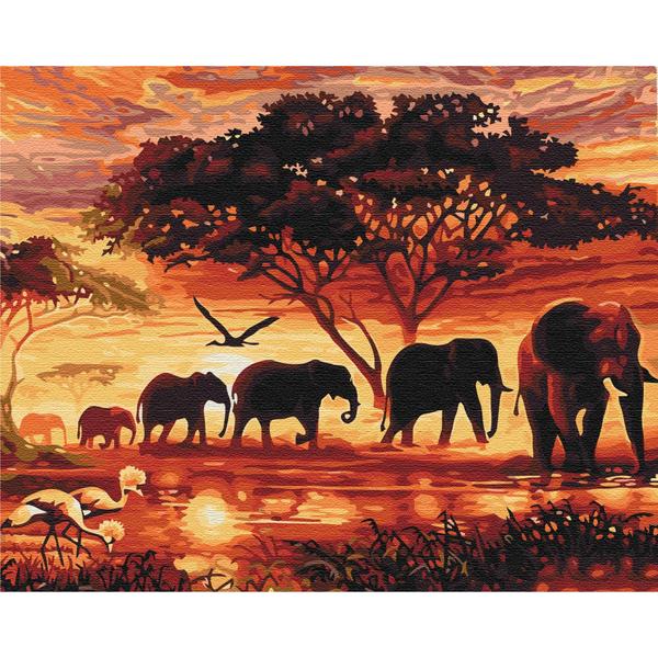 Картина по номерам Животные, птицы и рыбы - Слоны в саванне