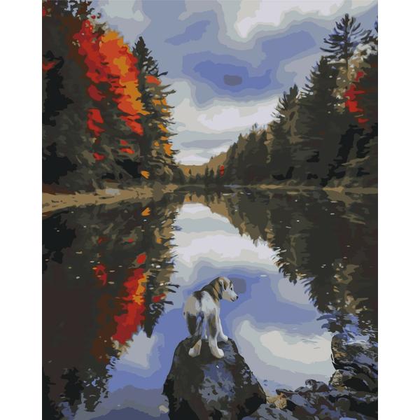 Картина по номерам Пейзажи - Собачка біля озера