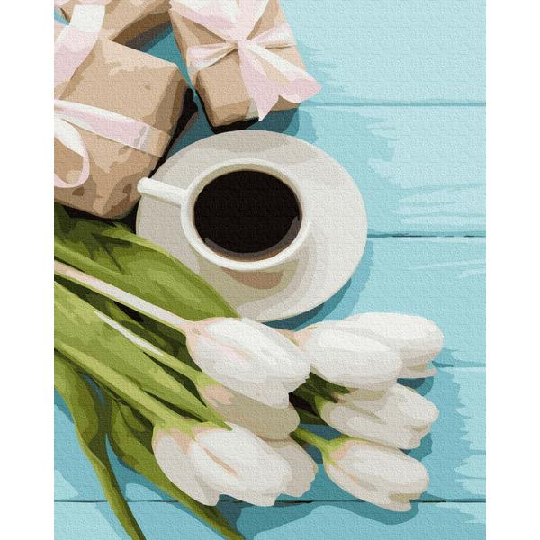 Картина по номерам Натюрморты - Тюльпаны к кофе