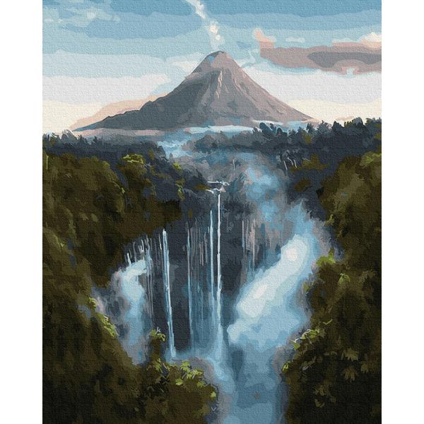 Картина по номерам Природа - Водоспад біля гір