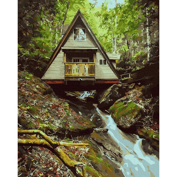 Картина по номерам Пейзажи - Домик в лесу
