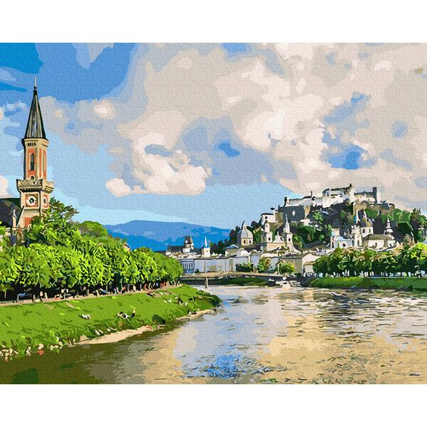 Картина по номерам Пейзажи - Містечко біля ріки