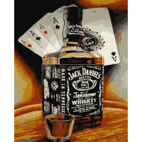 Картина по номерам Мужские - Стаканчик виски за каре